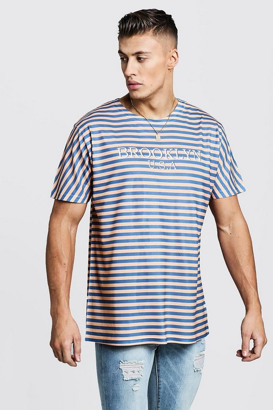 Brooklyn USA Stripe Overszied T-Shirt