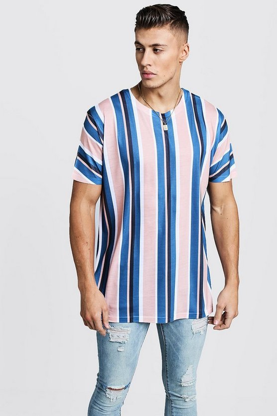 Vertical Stripe Oversized T-Shirt