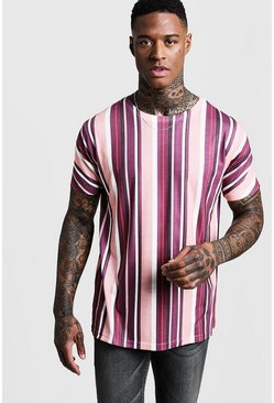Burgundy Vertical Stripe T-Shirt