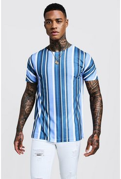 Blue Vertical Stripe Crew Neck T-Shirt