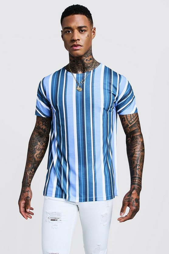 Mens Blue Vertical Stripe Crew Neck T-Shirt