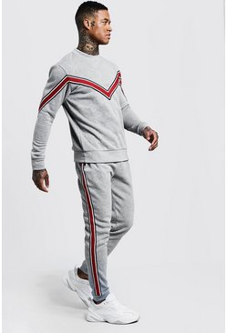 Mens Grey Chevron Tape Detail Sweater Tracksuit