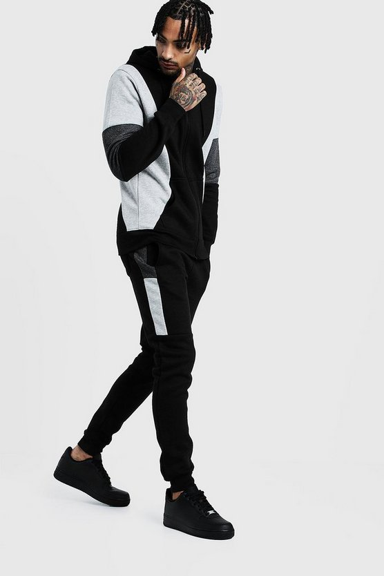 Mens Black Contrast Panel Zip Hooded Tracksuit
