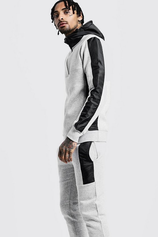 Half Zip Hooded Tracksuit With Reflective Panels