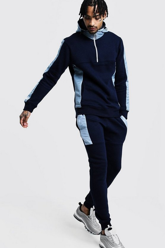 Mens Navy Half Zip Hooded Tracksuit With Reflective Panels