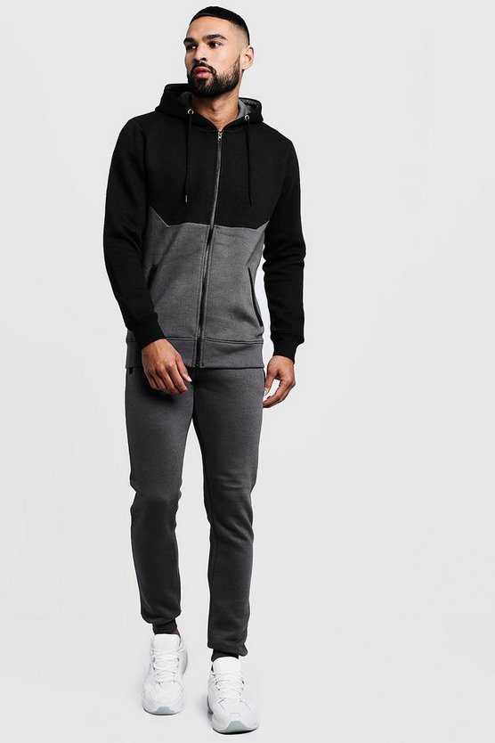Mens Grey Colour Block Zip Through Hooded Tracksuit