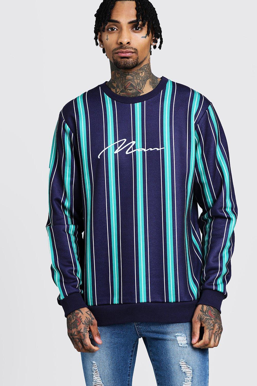 MAN Signature Embroidered Stripe Sweater