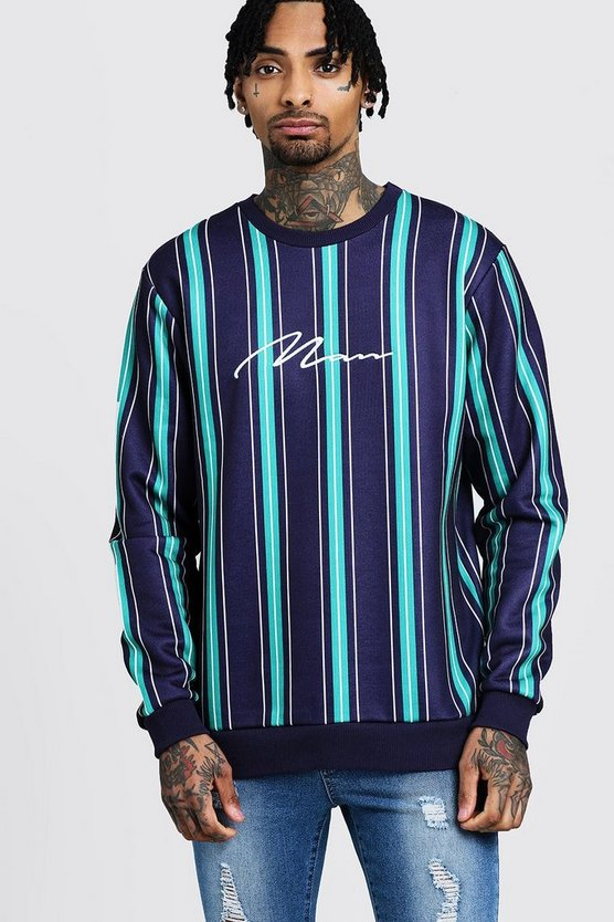 MAN Signature Embroidered Stripe Sweater, Green, Uomo