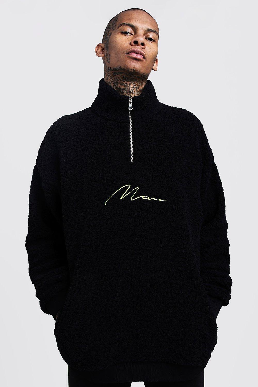 Oversized Half Zip MAN Signature Borg Sweater