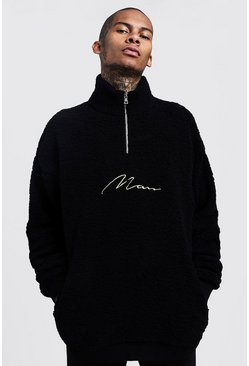 Mens Black Oversized Half Zip MAN Signature Borg Sweater