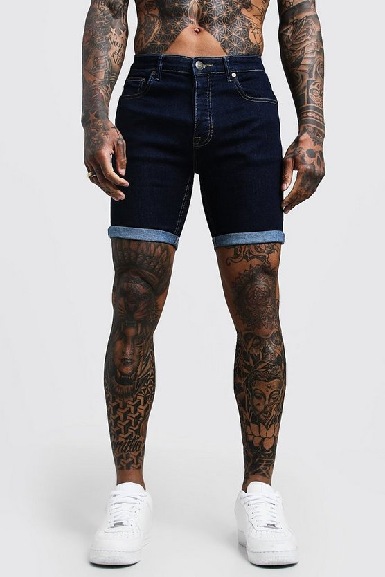 Mens Stretch Skinny Fit Indigo Denim Shorts