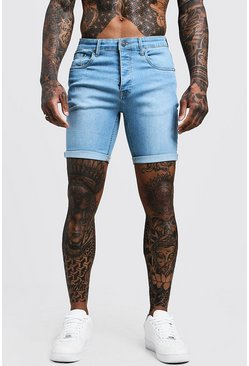 Herr Stretch Skinny Fit Pale Blue Denim Shorts
