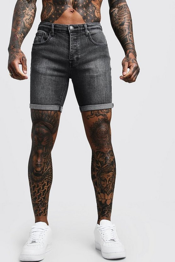 Stretch Skinny Fit Charcoal Denim Shorts, Charcoal, HOMMES