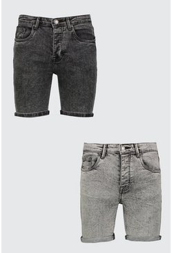 2 Pack Acid Wash Denim Shorts In Skinny Fit, Multi, HOMBRE