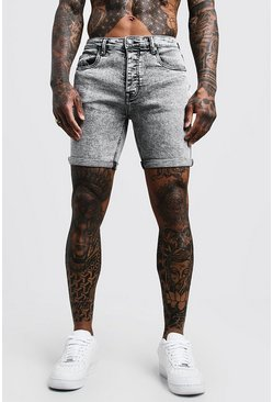 Stretch Skinny Fit Pale Grey Acid Wash Denim Shorts, HOMMES