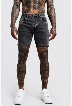 Mens Stretch Skinny Fit Charcoal Acid Wash Denim Shorts