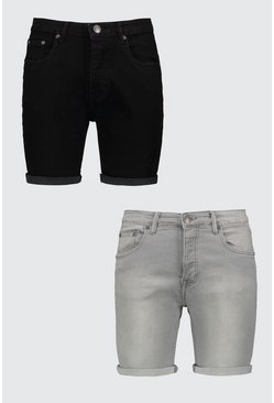2 Pack Denim Shorts In Skinny Fit, Multi, HOMMES