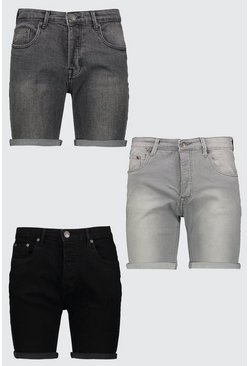 3 Pack Denim Shorts In Skinny Fit, Multi