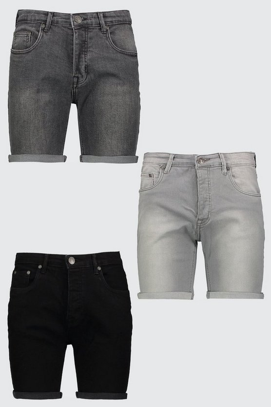 Mens Multi 3 Pack Denim Shorts In Skinny Fit