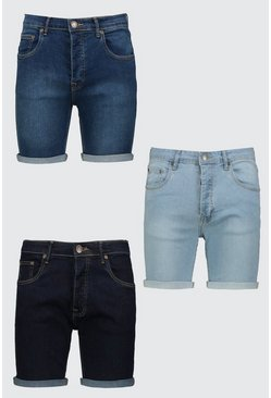 3er-Pack Skinny Fit Denim-Shorts, Mehrfarbig