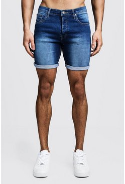 Stretch Skinny Fit Mid Blue Denim Shorts, HOMMES
