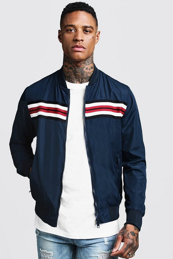 Mens Navy Stripe Tape Detail Bomber Jacket