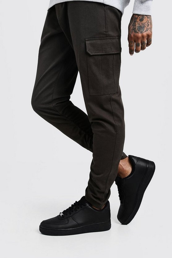 Mens Khaki Skinny Fit Twill Trouser With Cargo Pockets