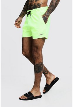 Mens Neon-yellow Original MAN Mid Length Swim Short
