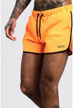Mens Neon-orange Original MAN Runner Swim Short