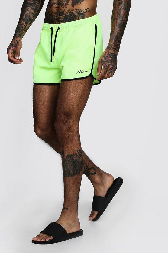Mens Neon-yellow MAN Signature Runner Swim Short