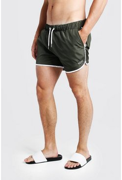 Mens Khaki Original MAN Runner Swim Short