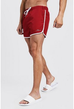 Mens Red MAN Signature Runner Swim Short