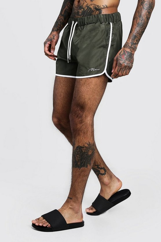 Mens Khaki MAN Signature Runner Swim Short