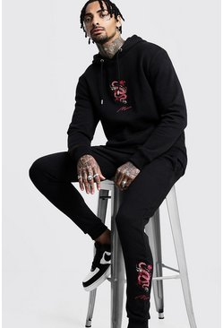 Herr Black Dragon Embroidered MAN Hooded Tracksuit
