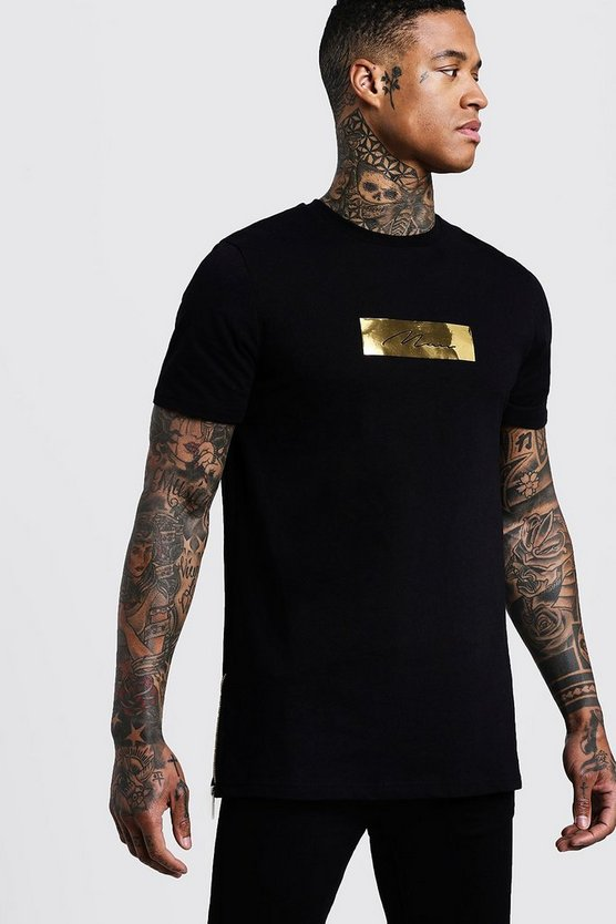 Black Longline MAN Gold Box T-Shirt With Zips