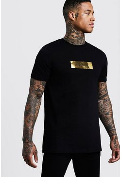 Mens Black Longline MAN Gold Box T-Shirt With Zips