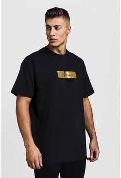 Mens Black Oversized Signature Gold Foil Box T-Shirt