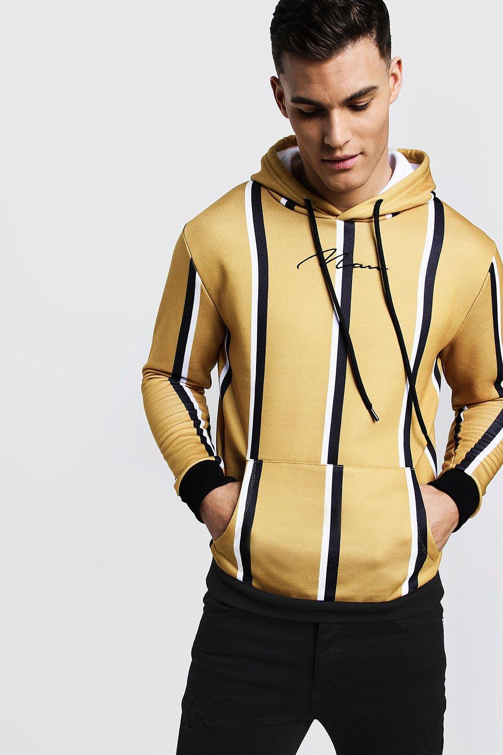 MAN Embroidered Stripe Hoodie