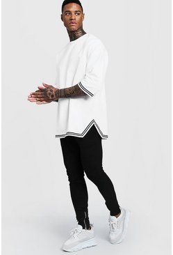 White Oversized Drop Shoulder MAN Tracksuit With Tape
