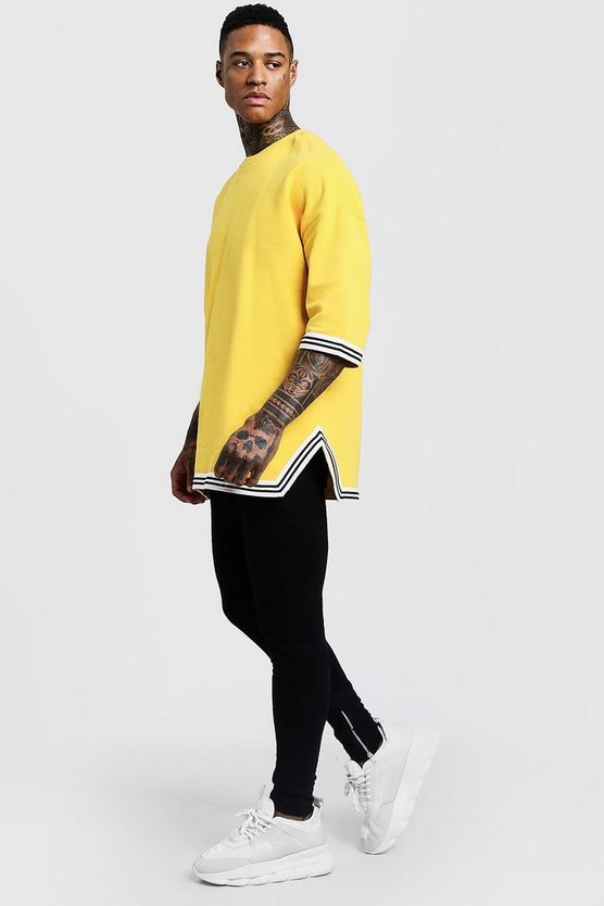 Mens Yellow Oversized Drop Shoulder MAN Tracksuit With Tape