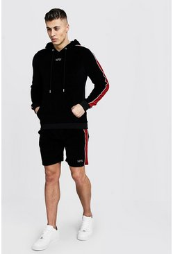 Mens Black Hooded Original MAN Velour Short Tracksuit