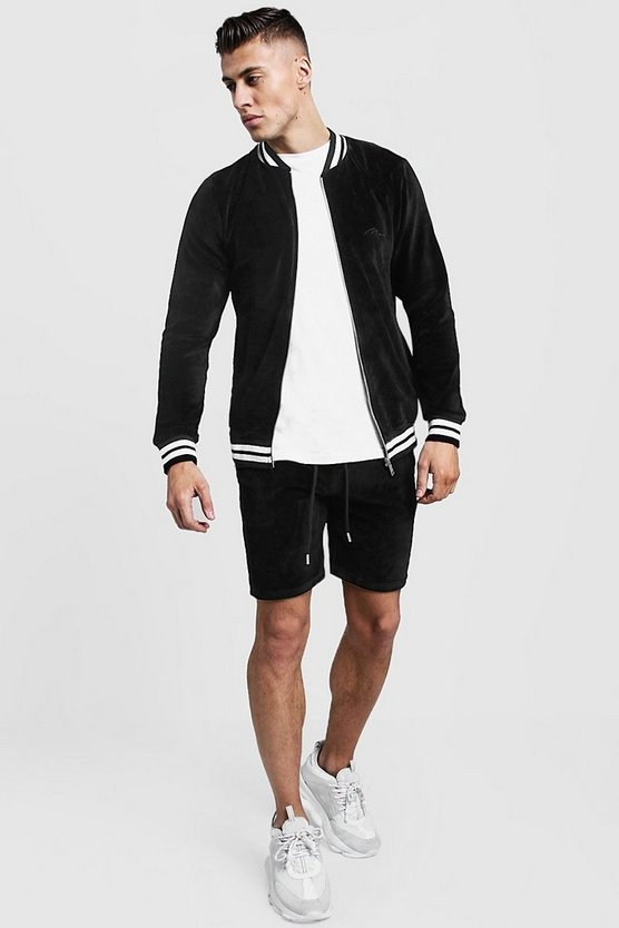 Mens Black Velour MAN Short Bomber Tracksuit