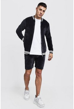 Mens Charcoal Velour MAN Short Bomber Tracksuit