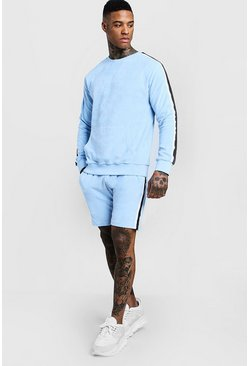 Mens Light blue MAN Signature Velour Sweater Short Tracksuit