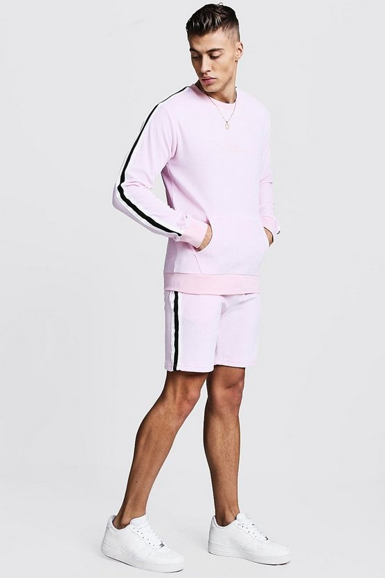 Mens Light pink MAN Signature Velour Sweater Short Tracksuit