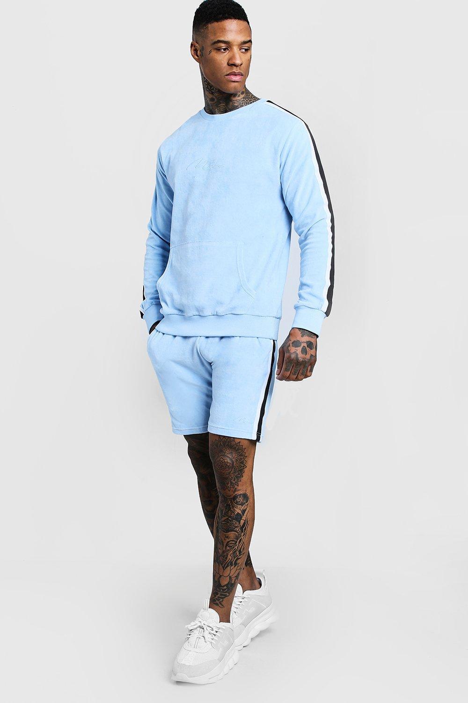 be7b5d87c0 MAN Signature Velour Sweater Short Tracksuit   Boohoo