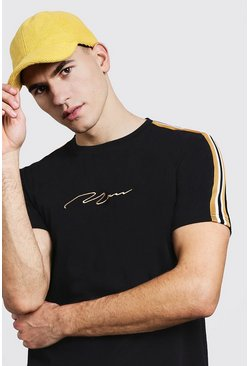Mens Black Gold MAN Signature Curve Hem T-Shirt With Side Tape