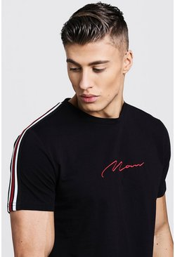 Mens Black MAN Signature Curved Hem T-Shirt With Side Tape