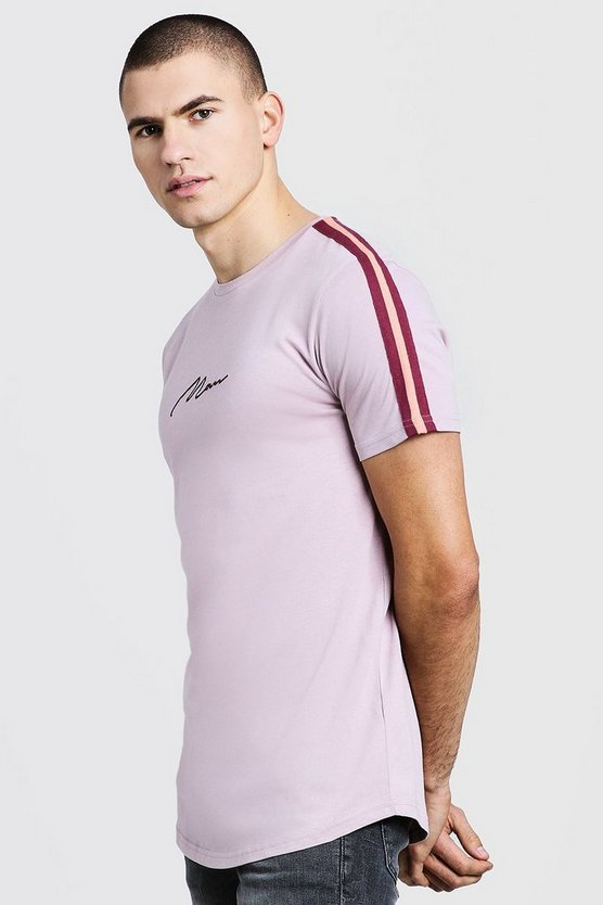 Mens Bark MAN Signature Longline T-Shirt With Tape Detail