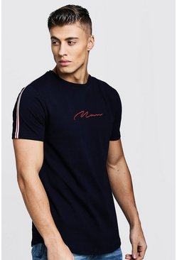 Mens Navy MAN Signature Curve Hem T-Shirt With Side Tape